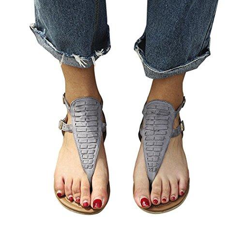 MOIKA Damen Boho Flach Sandalen Sandaletten T-Riemen Strand Badeschlappen Damenschuhe(EU41,Grau
