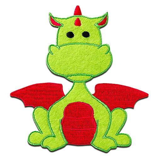 Aufnäher/Bügelbild - Drache Tier Kinder - grün/rot - 9x8,4cm - Patch Aufbügler Applikationen zum aufbügeln Applikation Patches Flicken