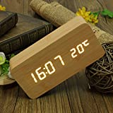 KingSo Sveglia Allarme LED Digital Termometro del Calendario Orologio Moderna USB / AAA-BAMBOO BIANCO