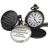 Personalisierte eingravierte Taschenuhr, Geschenk zum Vatertag, Geburtstag, für Trauzeuge