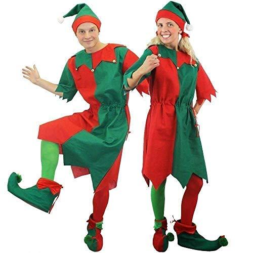 ILOVEFANCYDRESS Unisex-ELFENKOSTÜM FÜR Erwachsene - ELFENTUNIKA MIT Hut UND Stiefeln Santa's Kleiner Helfer KOSTÜM (XXX-GROẞ) (Herren Freche Elfe Kostüm)