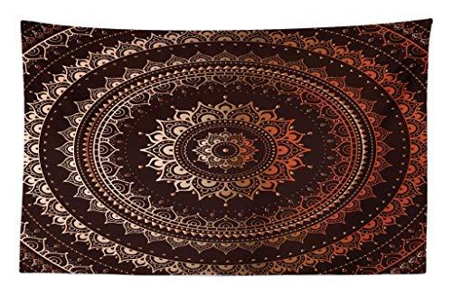 ABAKUHAUS Mandala Wandteppich und Tagesdecke Orientalisch Buddhismus und Hinduistischer Spiritualistisch Figurativer Musteraus Weiches Mikrofaser Stoff 230 x 140 cm Digitaldruck Technik Braun