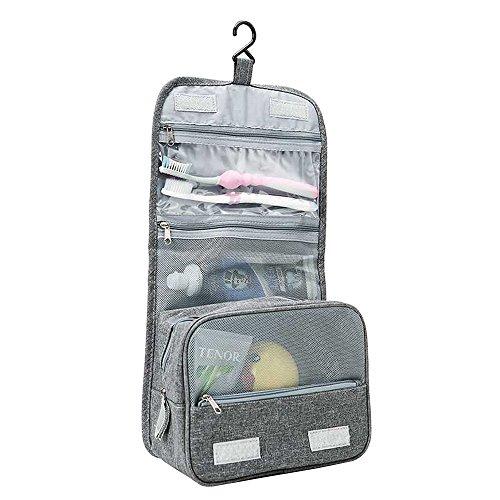 Bolsa de aseo de maquillaje cosmético a prueba de agua con gancho Bolsillos de malla plegable Organizador de almacenamiento multifuncional Bolsa de almacenamiento portátil (gris)