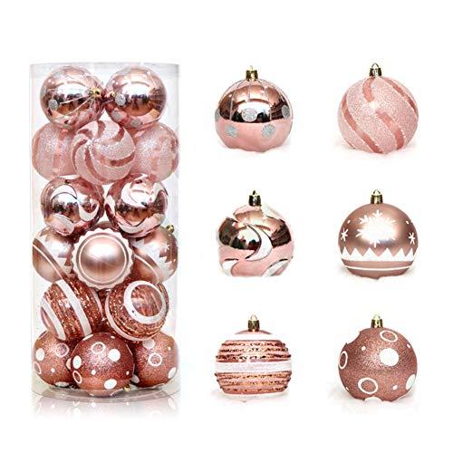 Pveath, 24 palle di natale multicolore, infrangibili, decorazioni per albero di natale, decorazioni per feste, matrimoni, 6 cm oro rosato
