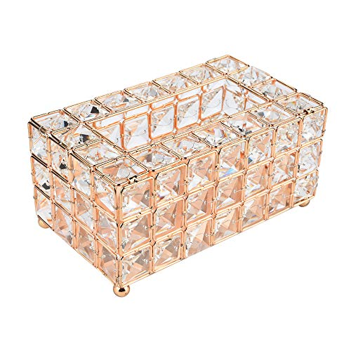 Chrom Tissue Box Cover (SUJING Luxus Kristall Handgefertigte Home Deko Tissue Holder Box Decor Tissue Box Cover Servietten Container - Versand aus USA Gold)