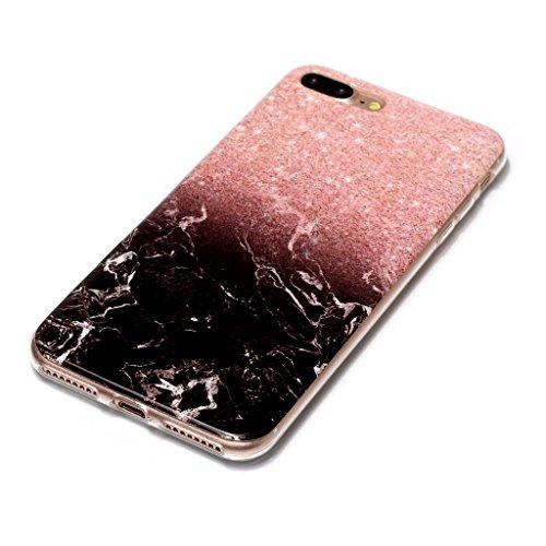 """Coque pour Apple iPhone 7 Plus , IJIA Transparent Motif Marbre Noir Fleur TPU Doux Silicone Bumper Case Cover Shell Housse Etui pour Apple iPhone 7 Plus (5.5"""") (YH74) YH73"""