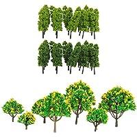 MagiDeal 30pcs Modelo Mini Árbol Color Verde con Flor Amarilla para Ferrocarril Paisajes / Diorama