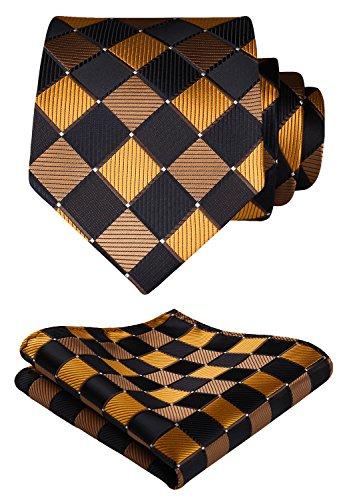 Hisdern Extra Long Check Krawatte Taschentuch Herren Krawatte & Einstecktuch Set Braun und Orange -