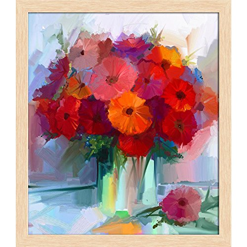 ArtzFolio Still Life A Bouquet of Flowers D2 Canvas Painting Natural Brown Wood Frame 18 X 20.6Inch Bouquet Natural Wood