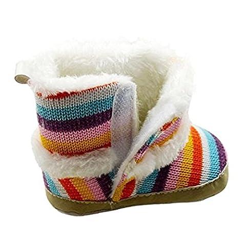 Saingace® Baby Rainbow Snow Boots Soft Crib Shoes Toddler Boots (2UK)