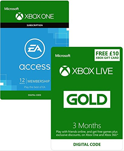 Xbox Live 3 Month Gold Membership + 12 Month EA Access +£10 Xbox Live Currency [Xbox Live Download Codes]