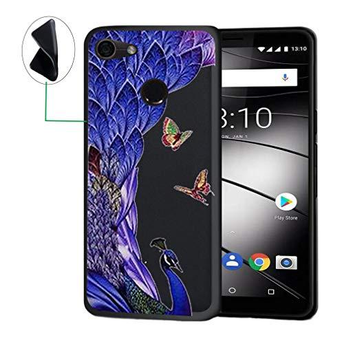 JIENI Hülle für Gigaset GS280,Weich Flexibel Schwarz Silikon Handyhülle Pfau Schutzhülle Case Bumper Handytasche TPU Schale Cover für Gigaset GS280 (5.7