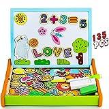 Pizarra Magnetica Infantil 135 Piezas Puzzle Rompecabezas Magnetico Madera Tablero de Dibujo de Doble Cara Juguetes Educativos para Niños 3 4 5 Años (Número y Letra)