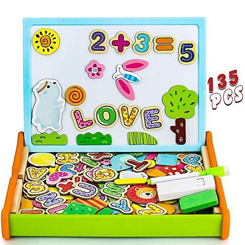 Puzzle magnetico legno 135 pezzi giocattolo di legno lavagna magica bambini doppia faccia con lettera numero animali apprendimento educativo bambini 3 4 5 anni natale regalo