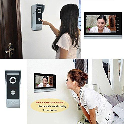 "AMOCAM 7"" Video Intercom Systems, Aluminum Alloy / Acrylic Panel Doorphone, Wired Video Door Phone Doorbell Kits, Support Monitoring, Unlock, Dual-way Door Intercom, IR Night Vision Camera"