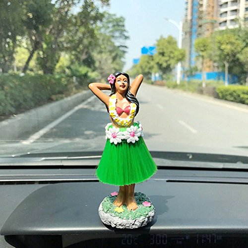 "Preisvergleich Produktbild Armaturenbrett Hula Mädchen, SMYER Posing Mini Armaturenbrett Puppe Grün Rock, Hawaiian Geschenke für Dekoration 4.5 ""High"