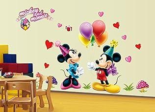 "Himani Decors""Happy Mickey & Minnie Cartoon Wall Sticker"" for Kids Room (Finished Size 120 cm X 180 cm)"