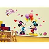 "Himani Decors""Happy Mickey & Minnie Cartoon Wall Sticker"" For Kids Room (Finished Size 120 Cm X 180 Cm)"