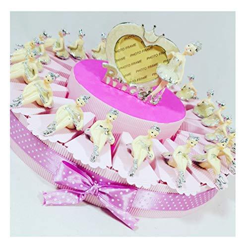 Sindy bomboniere ballerina danza classica originali per battesimo, comunione, cresima bambina bomboniera-torta 20 fette+20ballerine+1centrale+confetti, rosa,bianco, 45cm circa