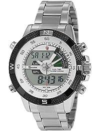 Shark SH046 - Reloj Hombre de Cuarzo, Correa de Acero Inoxidable Plateado