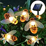 FANSIR Solar String Lights, 8 Modes 30 LED Honey Bee Fairy Lights Solar Powered Waterproof Outdoor String Lights for Garden Patio Yard Summer Party Wedding Indoor Bedroom Decor (Warm White) 8