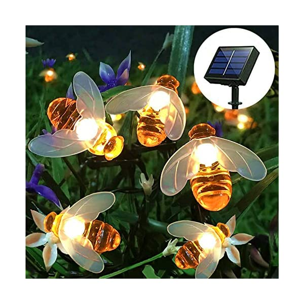 FANSIR Solar String Lights, 8 Modes 30 LED Honey Bee Fairy Lights Solar Powered Waterproof Outdoor String Lights for Garden Patio Yard Summer Party Wedding Indoor Bedroom Decor (Warm White) 1