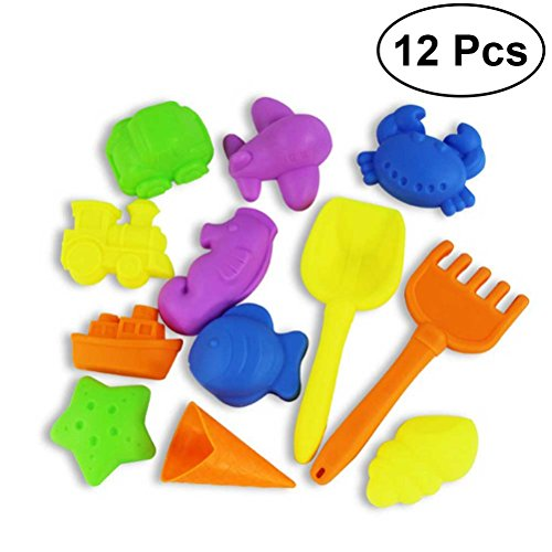 12Pcs Castle Sand Tools Beach Set Multicolor Creative Sand Mold Kits with Cartoon Molds and Bucket for Pools Backyard and Sandbox