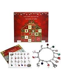 Naler - Calendario de Adviento de Navidad, 24 Piezas, Colgante de joyería para Regalo para niñas, señoras, Navidad, Fiestas