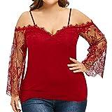 VEMOW Heißer Verkauf Sommer Große Größe Frauen Damen Schulterfrei T-Shirt Spitze Langarm Casual Tops Bluse für Muttertag Geschenk (EU-42/CN-M, Rot)