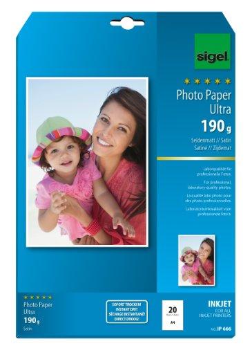SIGEL IP666 InkJet Fotopapier Ultra, A4, 20 Blatt, seidenmatt, extrem lichtbeständig, 190 g