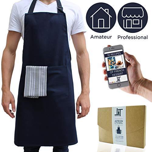 ✮Tempery ✮ Kochschürze Männer & Frauen, Kochschürze, Küchenschürze, Grillschürze, Schürze Herren & Damen - Premium-Qualität 100% Baumwolle - Blau - Latzschürze ✮ GESCHENK : Geschirrtuch-Küche