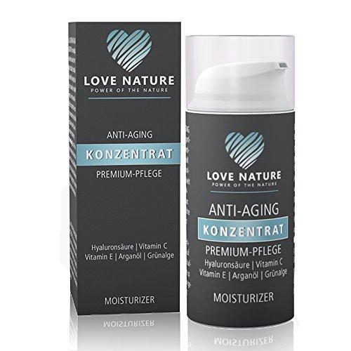 Love Nature Anti Aging Konzentrat 30ml mit hochdosierter/m Hyaluronsäure | Vitamin C | Arganöl | Vitamin E | Grünalge als Tages- und...
