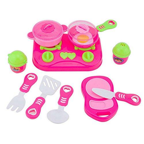 Finer Shop 11Pcs Cocina de Juguete Rosa Casa Niños Platos de Preparar la Comida Vajilla Fingir Jugar Set de Juego de
