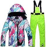KTUCN Outdoor Sports Gear Mädchen Skianzug Wear Snowboard-Anzug-Sets Wasserdicht Winddicht Winter Damen Schneejacke Trägerhose, grün, XL