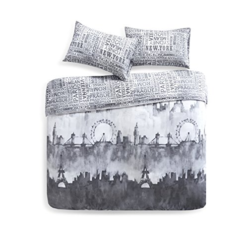 Bettwäsche 230x220cm Schwarz 100% Baumwolle 3-teilig Bettbezug & Kissenbezüge 50x75cm Renforcé Wendebettwäsche mit Skyline & Schriftzügen Ideal für Schlafzimmer City Scape