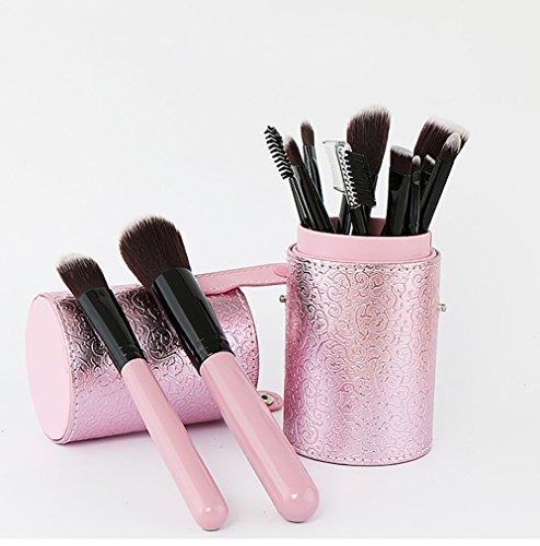 Maquillage Brosse, 12 Pcs / Set Rose Dentelle Seau Maquillage Brosse Tambour Mélange Poudre Fard à Paupières Contour Concealer Beauté Cosmétique Pinceau Jouet Outil Kit ( Color : Pink )