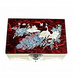Petit coffret rouge pour bijoux, grand compartiment, velours rouge + miroir. Décoration couple de paon en nacre naturelle