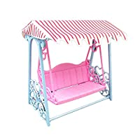 Faironly Cute Simulate Garden Beach Swing with Luxury Canopy for Doll Play-house Game Kids Toy Gift Decoration