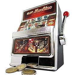 MonsterCadeaux - Machine Slot - Tirelire - Machine à sous - Bandit Manchot - Automate de Jeu avec Sons et lumières - Idée Cadeau d'anniversaire ou de Noël - Hauteur : env. 19 cm