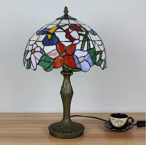 Carl Artbay Carl Artbay 12-Inch Vintage Pastoral Hummingbird With Flowers Stained Glass Tiffany Table Lamp Bedroom Lamp Bedside Lamp