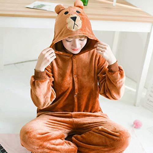 JYLW Damen Schlafanzug Frauen-Einhorn-Pyjamas Sets Erwachsene Winter Tier Pyjamas Kit Kostüm Cosplay Pijamas Unicornio Onesies One Piece Nachtwäsche, Bär, XXS