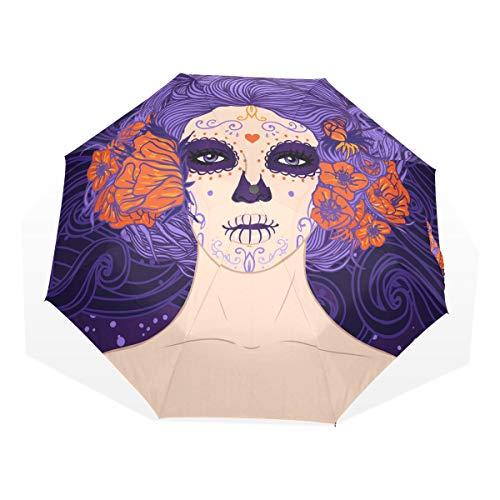 GUKENQ Paraguas de Viaje con diseño de Calavera de azúcar Mexicana, Ligero, Anti Rayos UV, Paraguas de Lluvia para Hombres, Mujeres y niños, Paraguas Plegable y Resistente al Viento