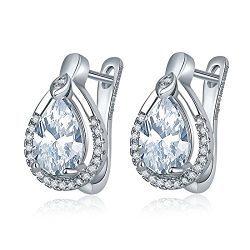 Lavishya Crystal Elements Sparkling Platinum Plated Earrings For Women/Girls (White)