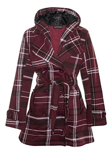 Noroze Damen stylischer Herbst Winter Fleece Mantel, Jacke mit Kapuze (44 (UK 16), Weinrot Tartan) (Tartan Herbst)