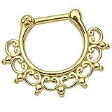 Piersando Piercing Scharnier Clicker Ring Tribal Spikes Spitzen mit Herzen Ornament Vintage Septum für Tragus Helix Ohr Nase Lippe Brust Intim Gold