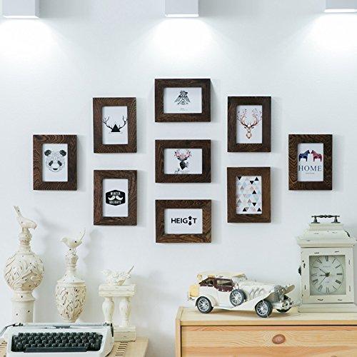 HJKY Photo Frame Wall Set Der Mahagoni Holz 9 Kasten 5 Zoll Fotos wand Continental die Einhaltung der Wohnzimmer Restaurant Schlafzimmer Foto an der Wand ist eine kreative Kombination aus Wenge 5-Zoll 9 Box
