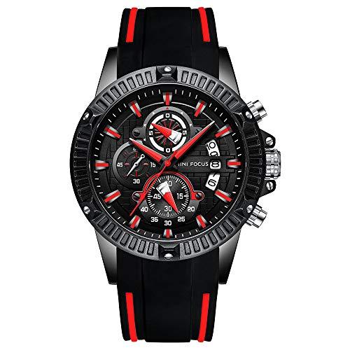 Mini Focus Herren Multifunktions Chronograph Leuchtzeiger Militär Outdoor Sports Große Silikonarmband Quarz-Armbanduhr Schwarz Rot (G-shock Angeln)