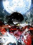 Fototapete Nippon Collection, grimmiger Schwertkämpfer im Wasser vor Vollmond, 3 Bahnen hochwertige Vliestapete, 139,5 x 195 cm
