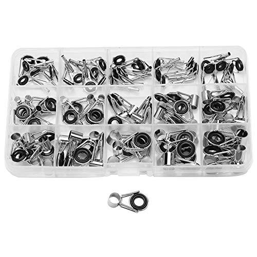 VGEBY Angelrute Spitze Reparieren Kit, 75 Stück Verschiedene Größen Angelrute Führungen Spitze Ring Eye Repair Kit Angelrute Edelstahl Reparatur Set mit Fall (Angelrute Reparatur)