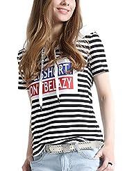 Keno camiseta mujer de verano - 95% algodón - con capucha - T shirt personalizado- M